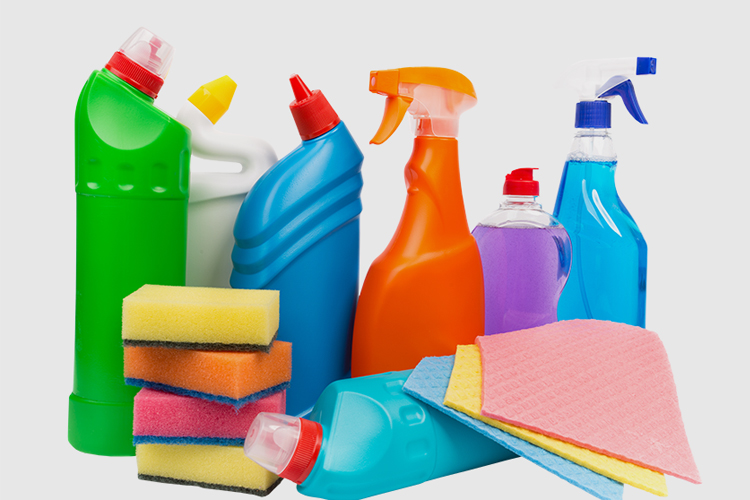 Cleaning supplies and paper products available